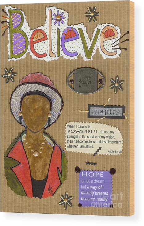 Woman Wood Print featuring the mixed media Believe Me by Angela L Walker