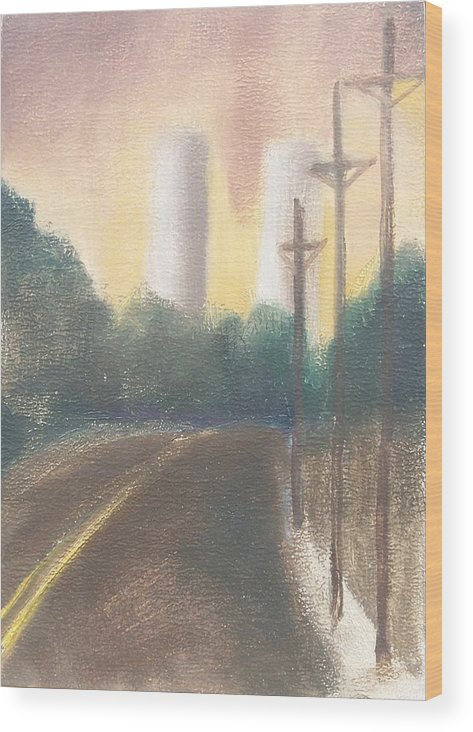 Landscape Wood Print featuring the painting Bergen Turnpike Study by Ron Erickson