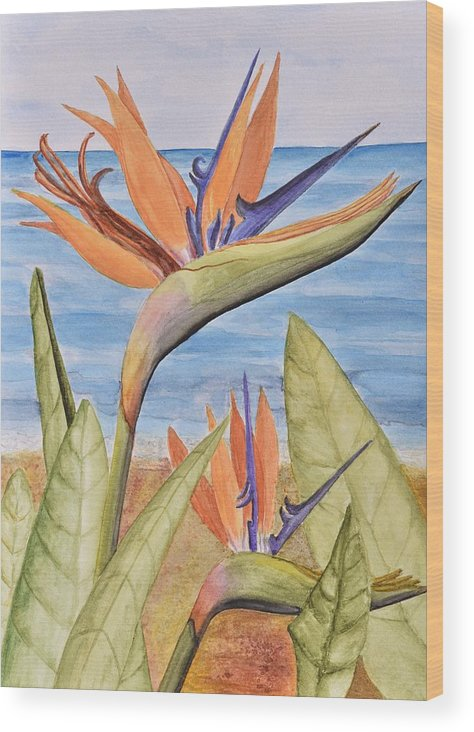 Linda Brody Wood Print featuring the painting Bird Of Paradise by Linda Brody