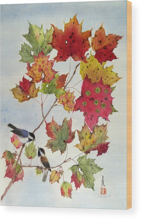 Bird Wood Print featuring the painting Birds On Maple Tree 6 by Ying Wong