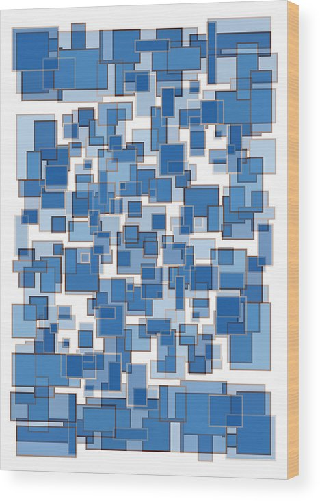 Blue Wood Print featuring the painting Blue Abstract Patches by Frank Tschakert