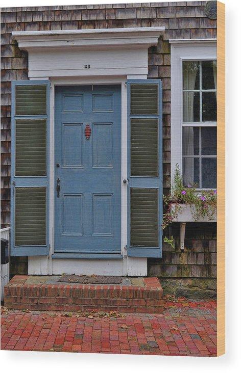 Nantucket Wood Print featuring the photograph Nantucket Blue Door by JAMART Photography