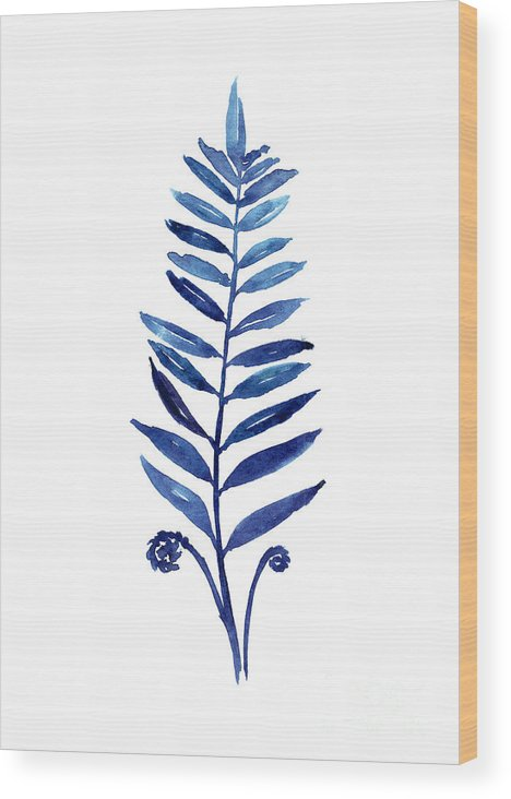 Ferns Wood Print featuring the painting Blue Fern Watercolor Poster by Joanna Szmerdt