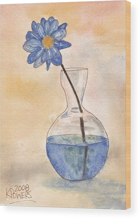 Flower Wood Print featuring the painting Blue Flower And Glass Vase Sketch by Ken Powers