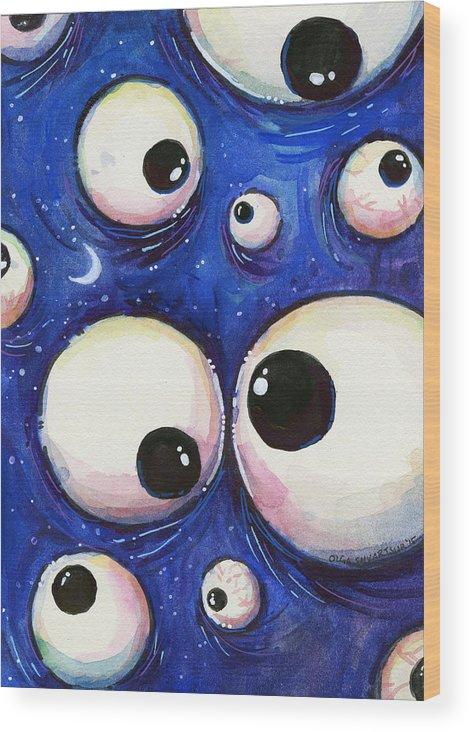 Eyes Wood Print featuring the painting Blue Monster Eyes by Olga Shvartsur