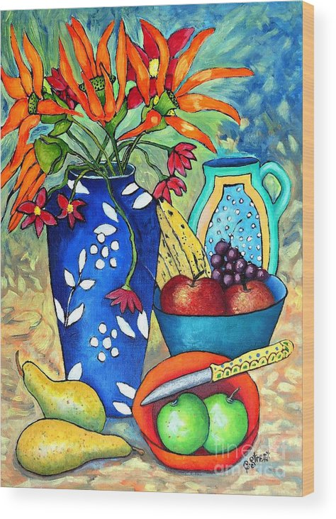 Stilllife With Fruit And Flowers Wood Print featuring the painting Blue Vase With Orange Flowers by Caroline Street