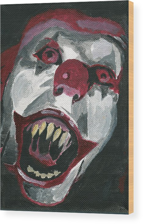 Clown Wood Print featuring the painting Bo-bo The Clown by Mikey Milliken