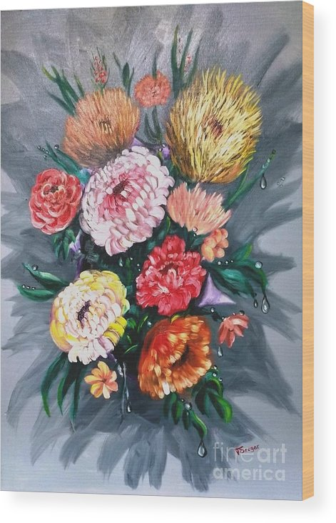 Flower Wood Print featuring the painting Bouquet by Tatiana Sragar