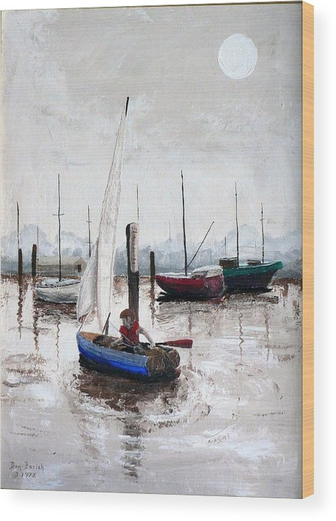 Blue Sailboat Wood Print featuring the painting Boy In Blue Sailboat by Dan Bozich