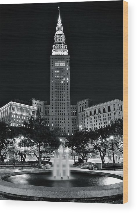 Cleveland Wood Print featuring the photograph Bright White Lights At Night by Frozen in Time Fine Art Photography