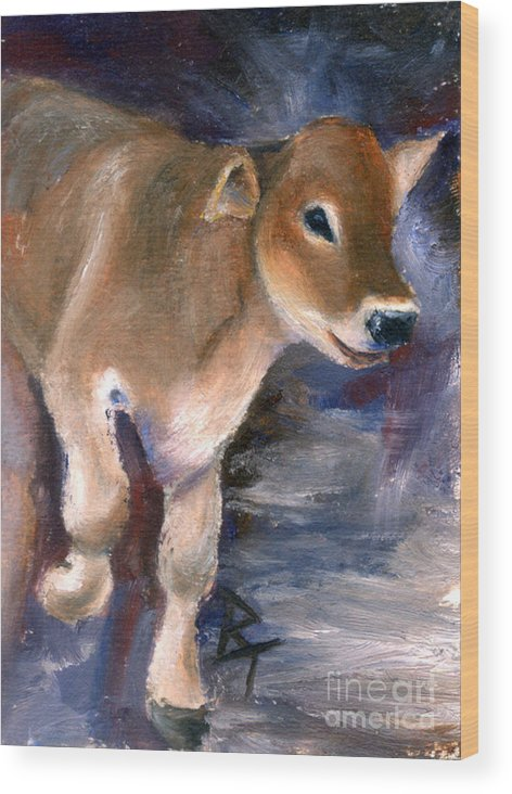 Cow Wood Print featuring the painting Brown Swiss Calf Aceo by Brenda Thour