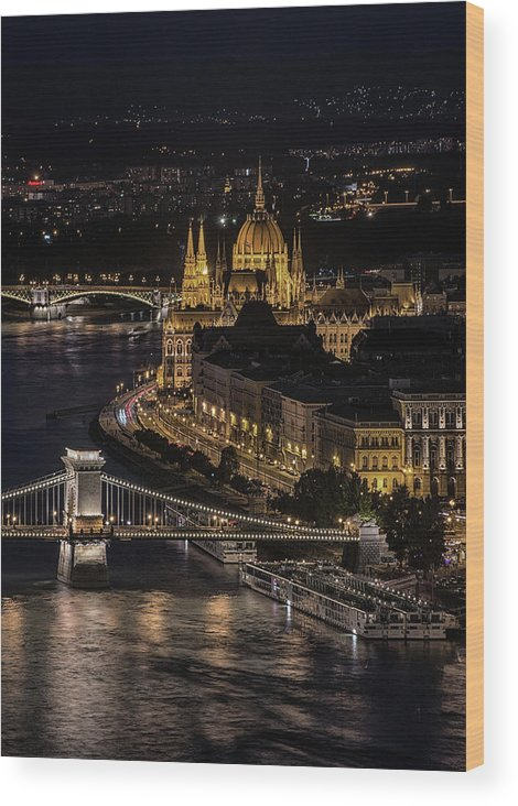 Urban Wood Print featuring the photograph Budapest View At Night by Jaroslaw Blaminsky