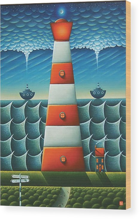 Lighthouse Wood Print featuring the painting Calm Before The Storm by Connor Maguire