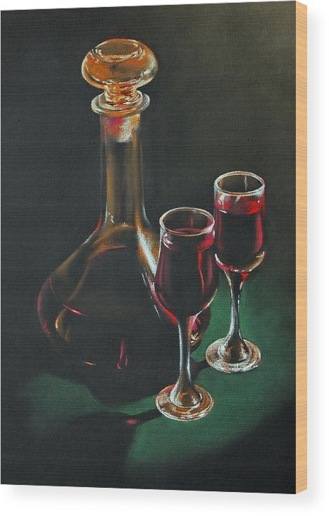 Pastel Wood Print featuring the painting Carafe And Glasses by Alan Stevens