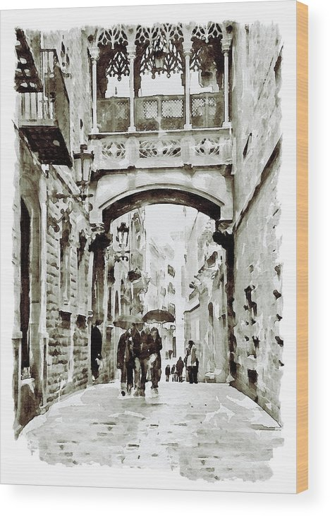 Carrer Del Bisbe Wood Print featuring the painting Carrer Del Bisbe - Barcelona Black And White by Marian Voicu