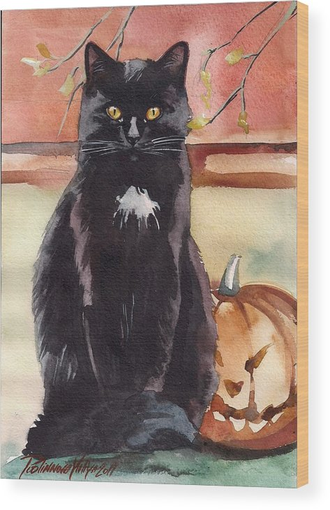 Back Cat Wood Print featuring the painting Cat With The Pumpkin by Yuliya Podlinnova