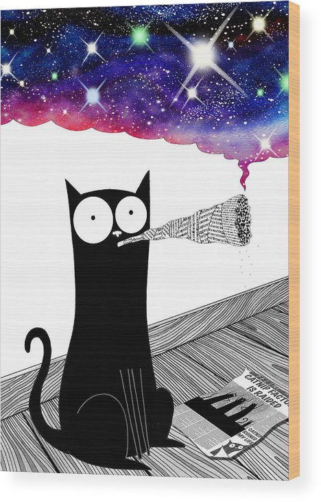 Catnip Wood Print featuring the drawing Catnip by Andrew Hitchen