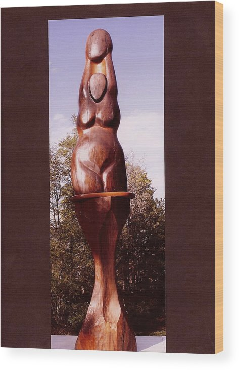 Goddess Moon Cedar Nude Female Figure Fertility Reaching Matriarchal Mother Children Lunar Luna Tide Wood Print featuring the digital art Cedar Moon Goddess by Eric Singleton