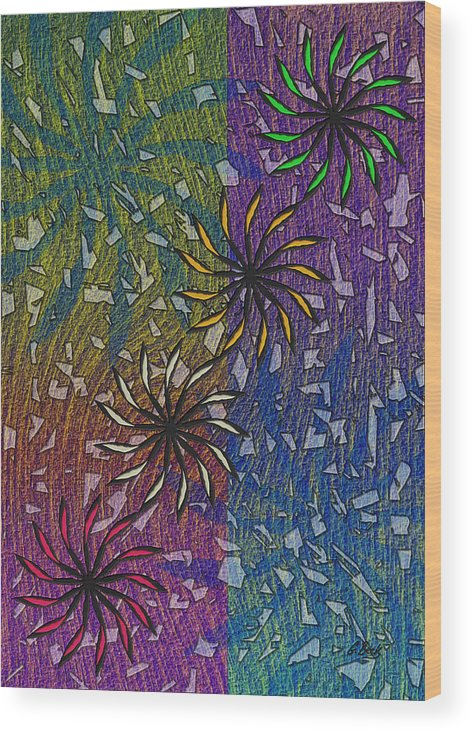 Celebration Abstract Design Art Fireworks Grafetti Gordon Beck Wood Print featuring the painting Celebration by Gordon Beck