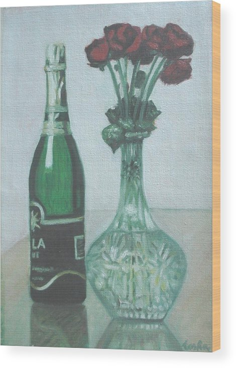 Champagne Wood Print featuring the painting Champagne And Roses by Usha Shantharam