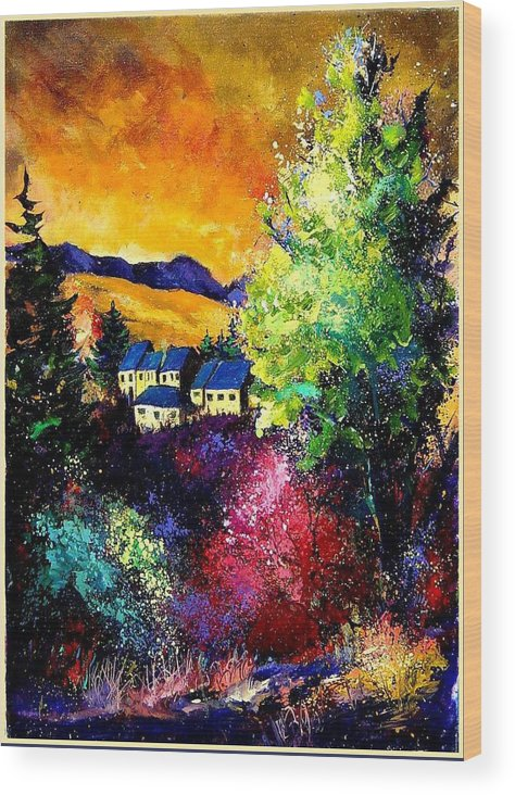 Landscape Wood Print featuring the painting Charnoy by Pol Ledent