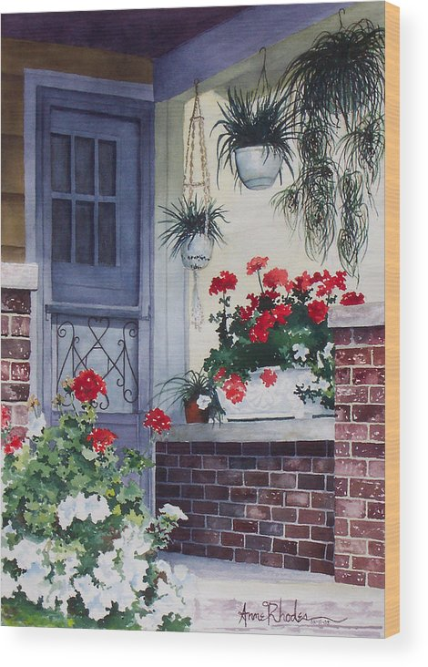 Floral Wood Print featuring the painting Cheery Welcome by Anne Rhodes