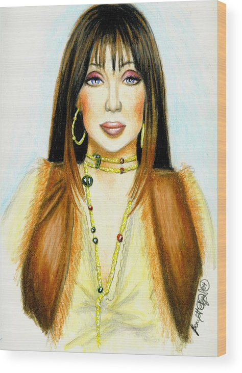 Woman Wood Print featuring the drawing Cher by Scarlett Royal