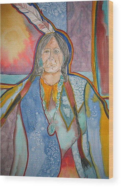 Native American Style Wood Print featuring the painting Chief by K Hoover