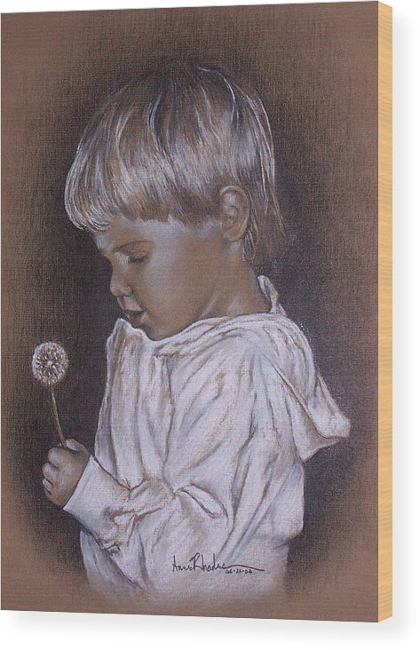Portrait Wood Print featuring the painting Childhood Wonder by Anne Rhodes