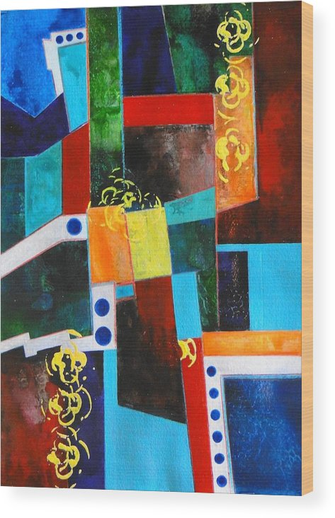 Abstract - Non-objective - Geometric - Bright Colors Wood Print featuring the painting China Town by Barbara March