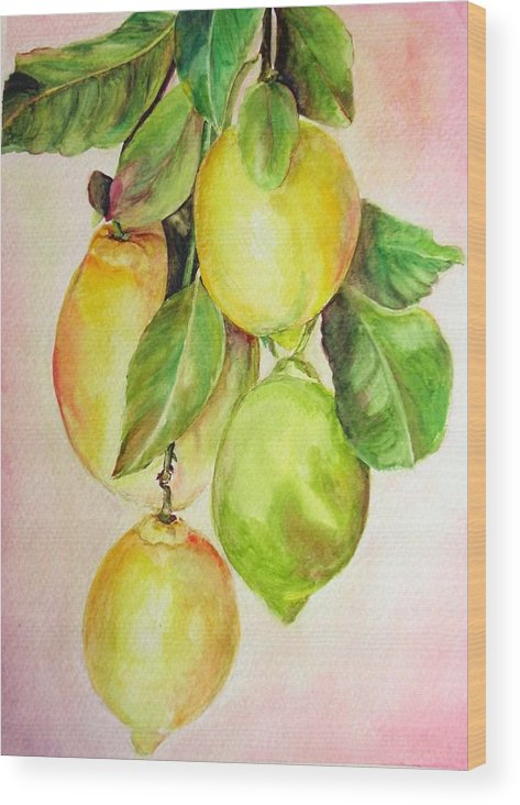 Still Life Wood Print featuring the painting Citrons by Muriel Dolemieux