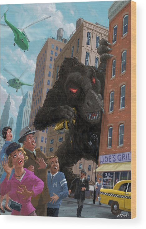 City Wood Print featuring the digital art City Invasion Furry Monster by Martin Davey
