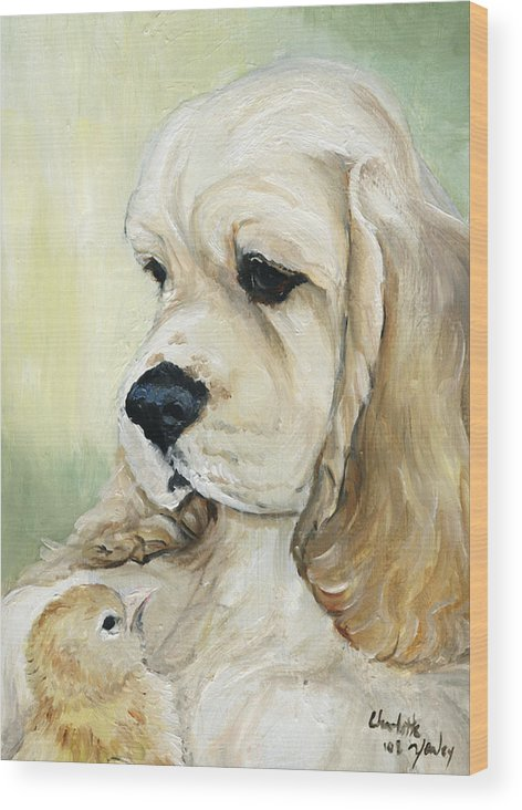 Dog Wood Print featuring the painting Cocker Spaniel And Chick by Charlotte Yealey