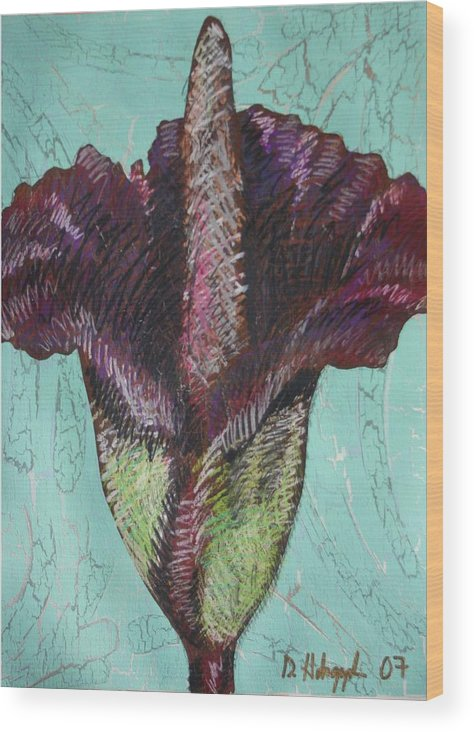 Corpse Wood Print featuring the painting Corpse Flower by Dodd Holsapple