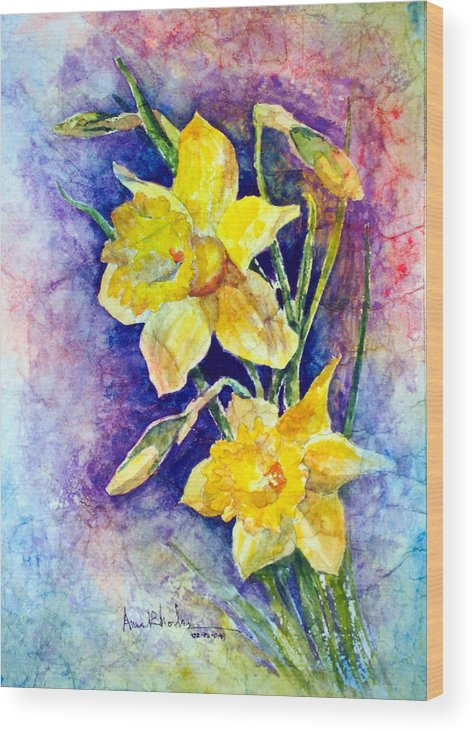 Daffodils Wood Print featuring the painting Daffodils by Anne Rhodes