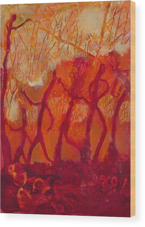 Red Wood Print featuring the painting Dancers by Robert Bissett