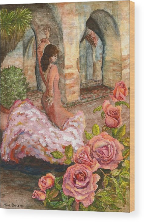 Flamenco Dancer Wood Print featuring the painting Dancing Rose by Mona Davis