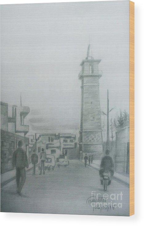 Daraa Wood Print featuring the drawing Daraa by Mohammad Hayssam Kattaa
