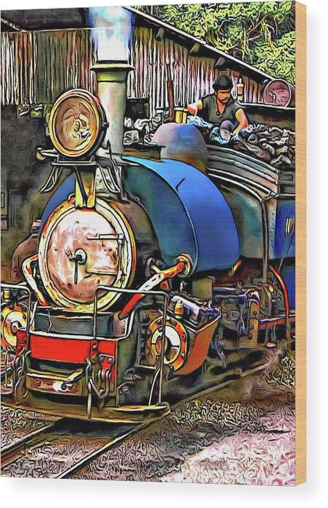 Toy Train Wood Print featuring the photograph Darjeeling Toy Train by Steve Harrington