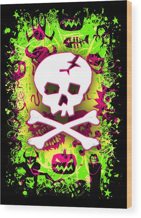 Deathrock Wood Print featuring the digital art Deathrock Skull And Bones by Roseanne Jones