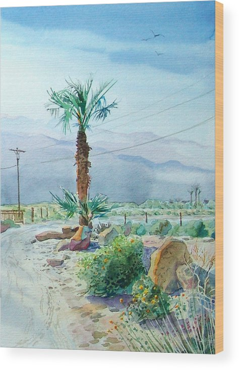 Watercolor Wood Print featuring the painting Desert Palm by John Norman Stewart