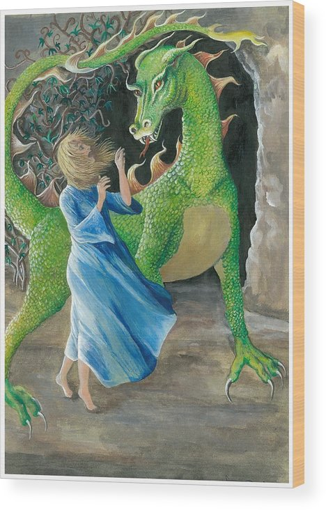 Dragon Wood Print featuring the painting Dragon Princess 2 by Sally Balfany