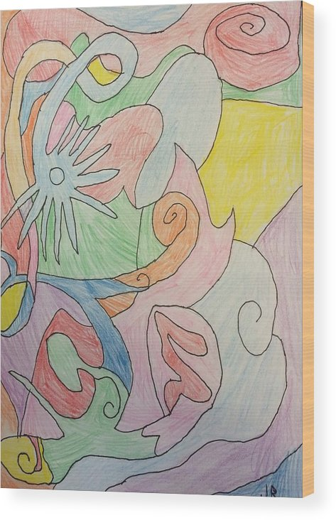 Abstract Wood Print featuring the drawing Dream 1 by Jonathan Rispoli