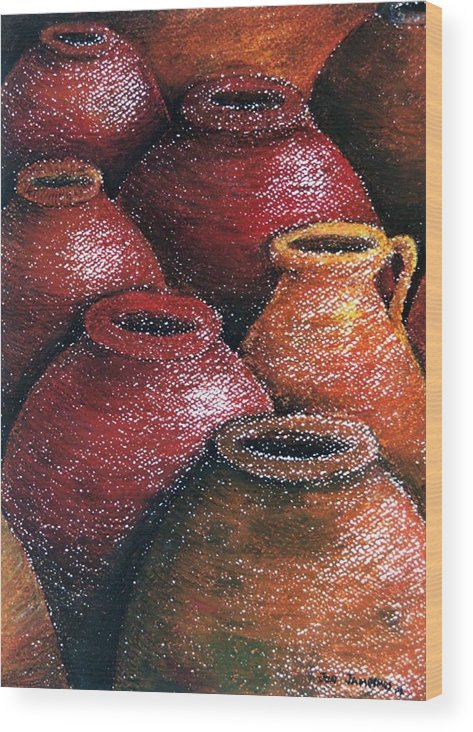 Earthen Wood Print featuring the painting Earthen Vessels Iv by Jun Jamosmos