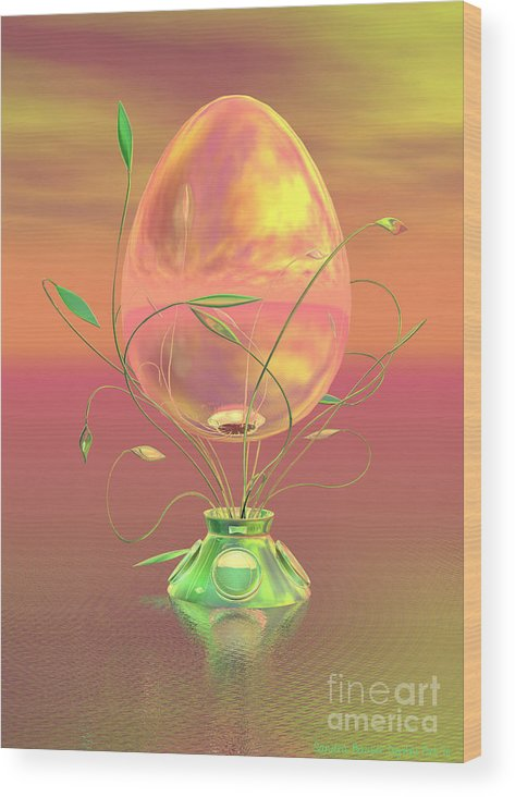 Easter Wood Print featuring the digital art Easter Egg by Sandra Bauser Digital Art