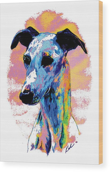 Electric Whippet Wood Print featuring the digital art Electric Whippet by Kathleen Sepulveda