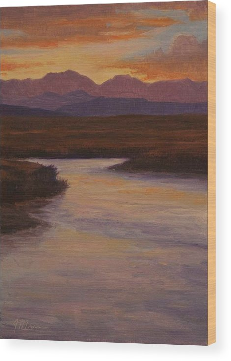 Landscape High Sierras Wood Print featuring the painting Evening Calm by Joe Mancuso