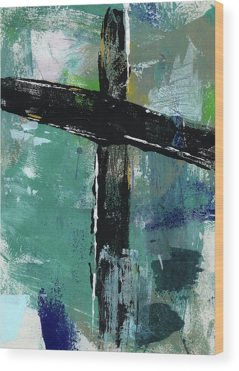 Cross Wood Print featuring the mixed media Expressionist Cross 8- Art By Linda Woods by Linda Woods