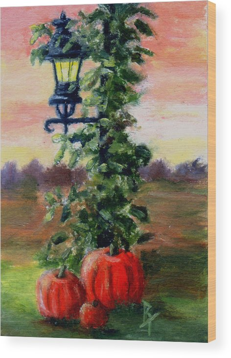 Fall Wood Print featuring the painting Fall Aceo by Brenda Thour