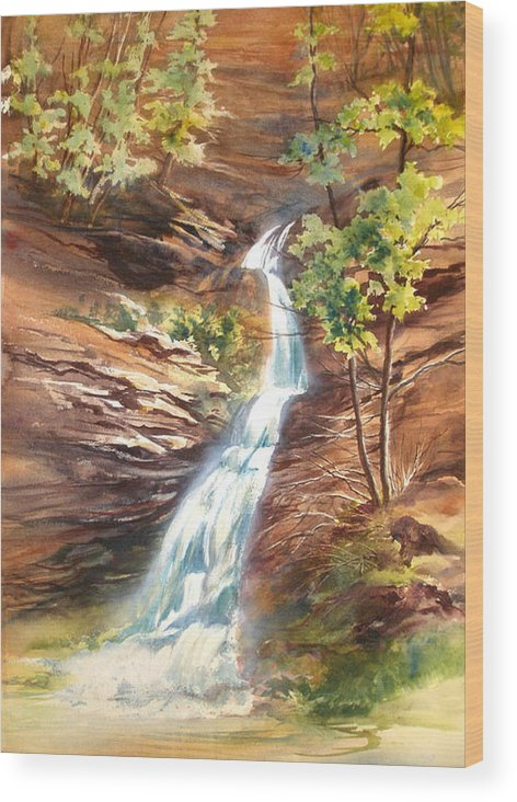 Water Falls;rocks;trees;hocking Hills;watercolor Painting; Wood Print featuring the painting Falls At Hocking Hills by Lois Mountz